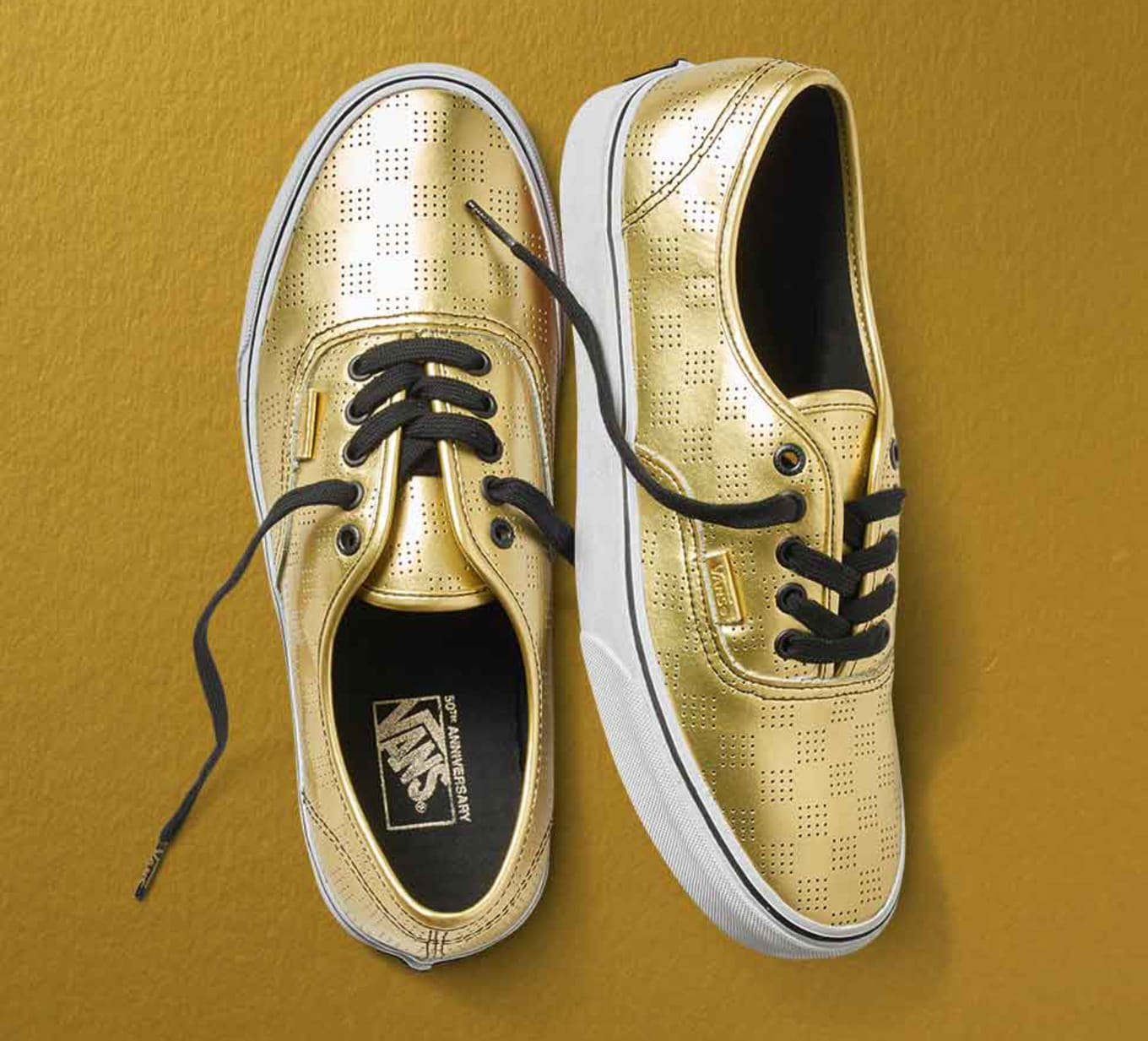 fd54a1744ef8 Vans Celebrates Its Big Birthday With Golden Sneakers. More for the 50th  anniversary.