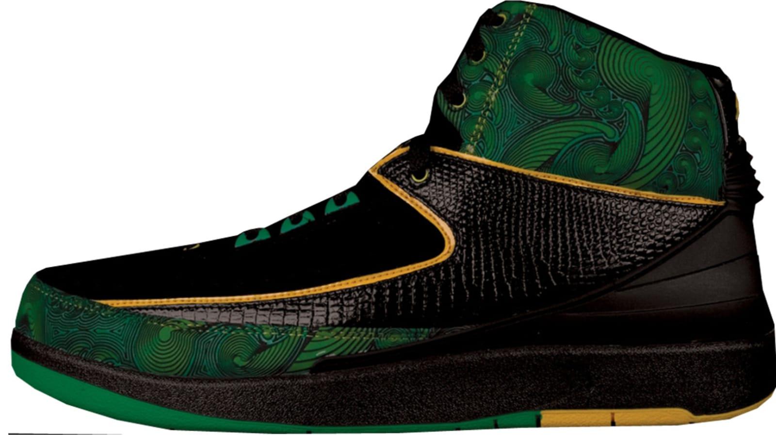Air Jordan 2 Retro DB Black Pro Gold Lucky Green