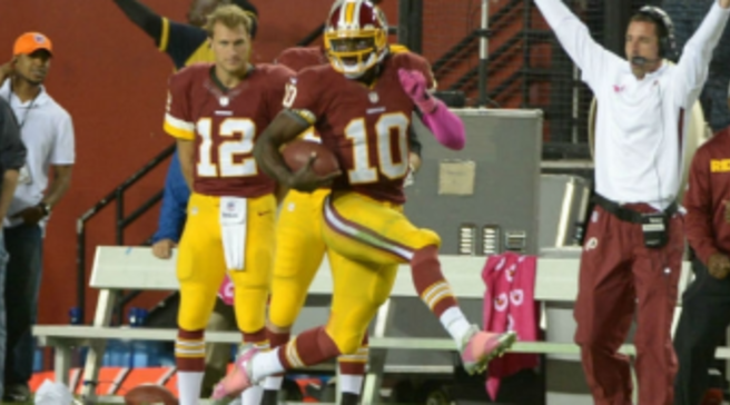 Robert Griffin III Runs for 76-Yard Touchdown in Pink adidas adiZero 5-Star dbd338543