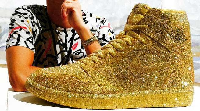 28e611f8fdfcf3 Artist recreates  Chicago  Air Jordan 1 with crystal-covered upper. Crystal  Air Jordan 1 by Daniel Jacob