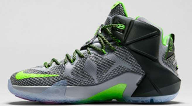 621109e1f80 Nike LeBron 12 Wolf Grey Reflect Silver-Black-Electric Green