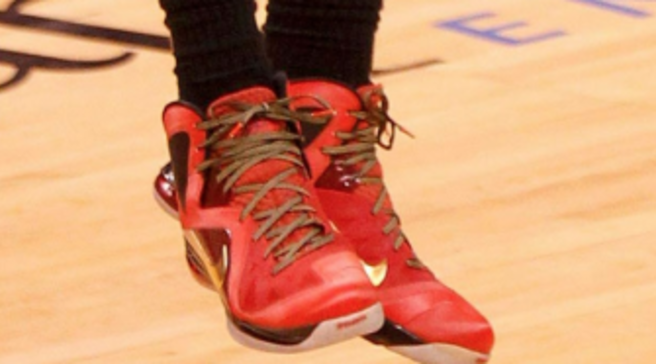 new style 598b5 083c4 LeBron James Wears Nike LeBron 9 P.S. Elite Red Finals PE