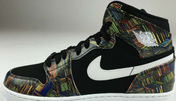Air Jordan 1 Retro High BHM Girls Black/White-Black-Voltage Green