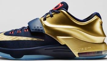Nike KD VII Premium Midnight Navy/Metallic Gold-Bright Crimson