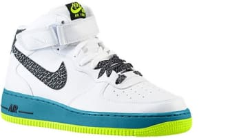Nike Air Force 1 Mid White/Black-Green Abyss-Volt