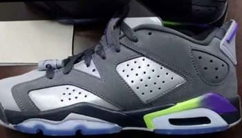 Air Jordan 6 Retro Low Girls Dark Grey/Ultraviolet-Wolf Grey-Ghost Green