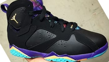Air Jordan 7 Retro Girls Black/Bright Citrus-Court Purple-Light Retro