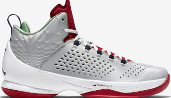 Jordan Melo M11 Fog Grey/Dark Rock Blue-Black-Green Bean-Cardinal Red-Orange Blaze