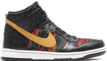 Nike Dunk High CMFT Premium QS Black/Flat Gold-Hyper Red