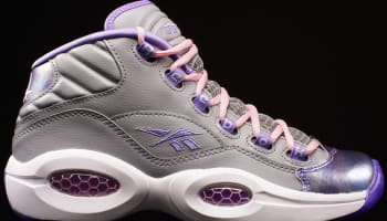 Reebok Question Mid Girls Matte Silver/Lush Orchid-Pink