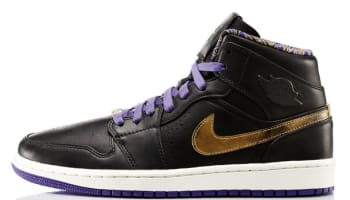 Air Jordan 1 Mid Nouveau BHM Black/Metallic Gold-Court Purple