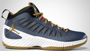 Jordan Super Fly Obsidian/Metallic Gold-White