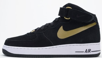 Nike Air Force 1 Mid Black/Metallic Gold-White