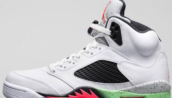 Air Jordan 5 Retro White/Infrared 23-Light Poison Green-Black