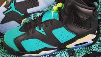 Air Jordan 6 Retro Girls Black/Volt Ice-Turbo Green-Black