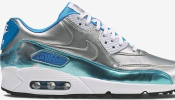 Nike Air Max '90 Premium Women's Metallic Silver/Clearwater-Light Blue Lacquer-White