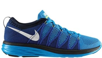 Nike Flyknit Lunar2 Vivid Blue/White-Game Royal-Dark Obsidian