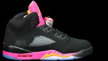 Girls Air Jordan 5 Retro GS Black/Bright Citrus-Fusion Pink