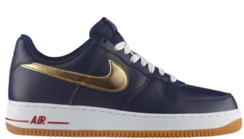 Nike Air Force 1 Low Midnight Navy/Metallic Gold-Sport Red