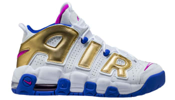 Nike Air More Uptempo GS White/Fuchsia Blast-Metallic Gold-Racer Blue