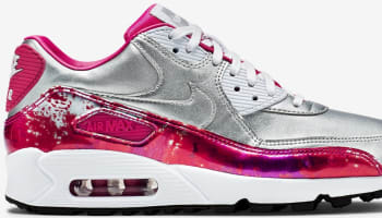 Nike Air Max '90 Premium Women's Metallic Silver/Pink Pow-Fireberry-White
