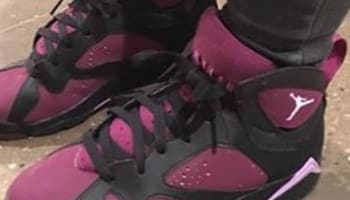Girls Air Jordan 7 Retro Black/Fuchsia Glow-Mulberry