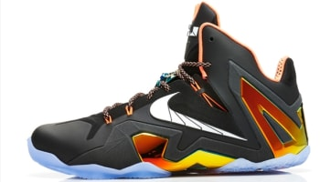 Nike LeBron 11 Elite Black/White-Metallic Gold-Bright Mango