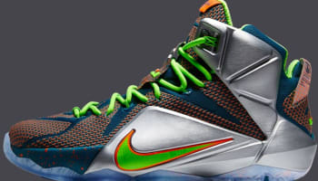 Nike LeBron 12 Premium Reflective Blue/Total Crimson-Electric Green-Metallic Silver