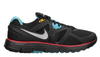 Nike LunarGlide+ 3 N7 Black/Metallic Silver-Dark Turquoise-Chilling Red