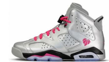 Air Jordan 6 Retro Girls Metallic Silver/Vivid Pink-Black