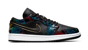 Air Jordan 1 Low Women's Black/Multi-Color/White/Metallic Gold (Snakeskin)