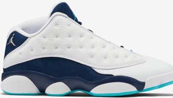 Air Jordan 13 Retro Low White/Metallic Silver-Midnight Navy-Turquoise Blue