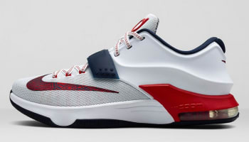 Nike KD VII White/University Red-Obsidian