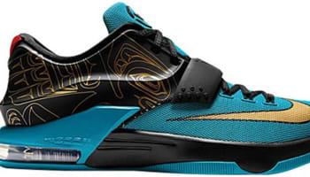 Nike KD VII N7 Dark Turquoise/Black-University Red-Metallic Gold
