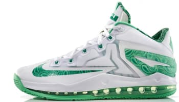 Nike LeBron 11 Low White/Light Lucid Green-Metallic Silver