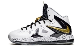 Nike LeBron X PS Elite+ White/Metallic Gold-Black