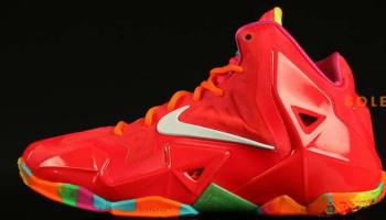 Nike LeBron 11 GS Laser Crimson/White-Pink Foil-Total Orange