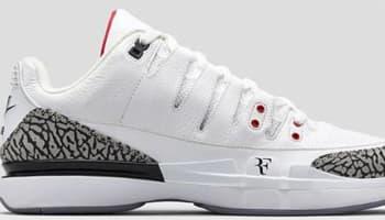 Nike Zoom Vapor AJ3 White/Fire Red-Cement Grey