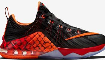 Nike LeBron 12 Low GS Black/Black-Challenge Red-Total Orange