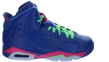 Air Jordan 6 Retro Girls Game Royal/White-Vivid Pink-Light Lucid Green