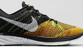 Nike Flyknit Lunar 3 Black/Electric Green-Total Orange-White