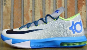 Nike KD VI Pure Platinum/Night Factor-Vivid Blue-Volt