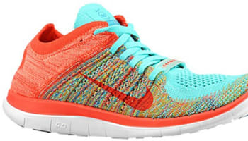 Nike Free 4.0 Flyknit N7 Women's Hyper Turquoise/Neo Turquoise-Sunset Glow-Bright Crimson