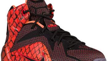 Nike LeBron 12 GS Black/Black-Challenge Red-Total Orange