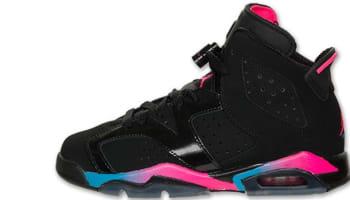 Girls Air Jordan 6 Retro GS Black/Pink Flash-Marina Blue