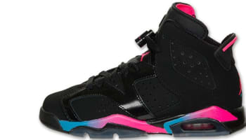 Girls Air Jordan 6 Retro GS Black/Pink Flash-Marina Blue