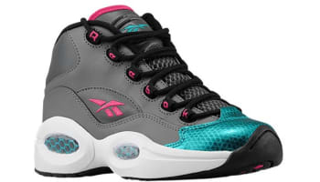 Reebok Question Mid Girls Rivet Grey/Teal Gem-Black-Candy Pink