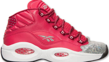 Reebok Question Mid Girls Blazing Pink/Bing Cherry-Metallic Silver