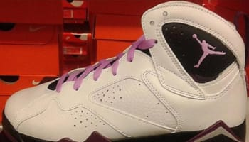 Girls Air Jordan 7 Retro White/Fuchsia Glow-Mulberry