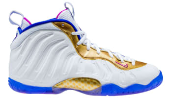 Nike Little Posite One White/Fuchsia Blast-Racer Blue-Metallic Gold